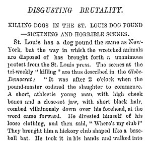 1877 New York Times expose of dog-clubbing in St. Louis.