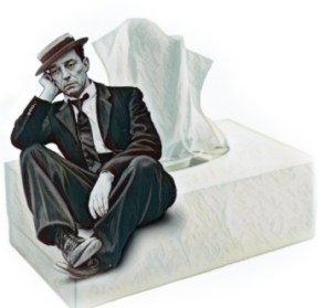 Tissues with a man sitting