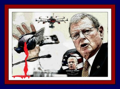 Oklahoma Senator James Inhofe, a prominent Trump supporter, hosts an annual fundraising dove shoot. See Trump booster Inhofe to host live pigeon shoot & dove hunt for details. (Beth Clifton collage)
