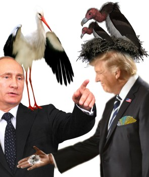 Trump and Putin with buzzard and stork