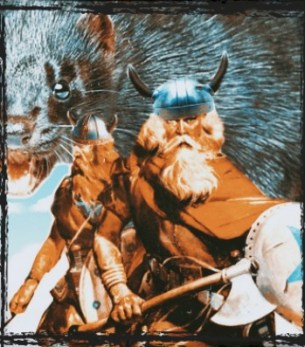 Two vikings attack a mink farm
