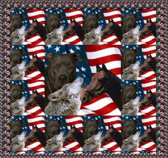 US flag with pit bull, horse and wolf