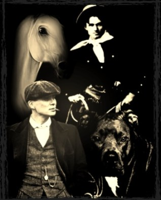 Will Rogers with a pit bull and dog fighter