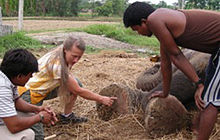 Carol Buckley teaching mahouts about elephant foot care.  (Wikipedia phot)