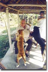 Russi Mody playing with dogs at the Karuna Kunj sanctuary.  (Compassionate Crusaders Trust photo)