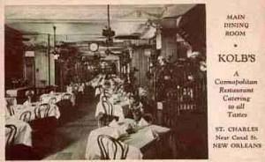 Kolb's Restaurant interior, circa 1930.