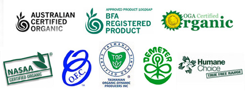 Certified organic egg labels