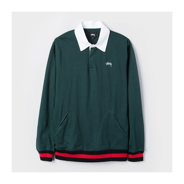 Online Men' Clothing Polos Stssy Pocket Rugby Green