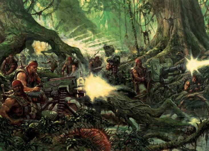Animation-Figurines-Decors-Catachan-avec-armes-lourdes-dans-la-jungle