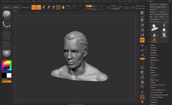 Interface graphique de Zbrush