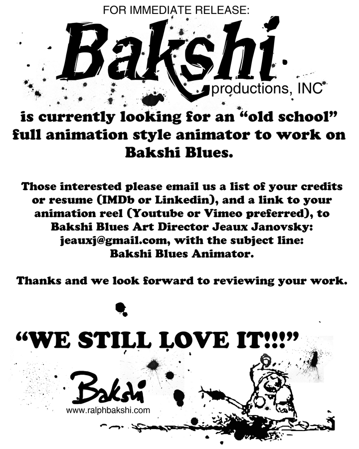 Lyric blues songs lyrics : Bakshi Productions looking for old school animator! – Animation ...
