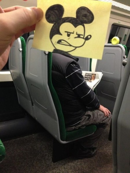 mickey on train
