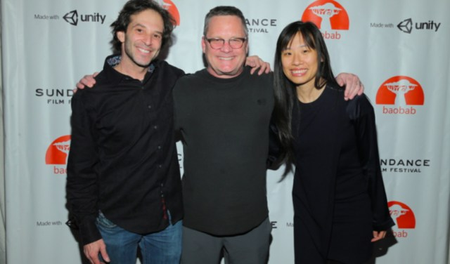 From left, Baobab Studios' co-founders Larry Cutler, Eric Darnell and Maureen Fan