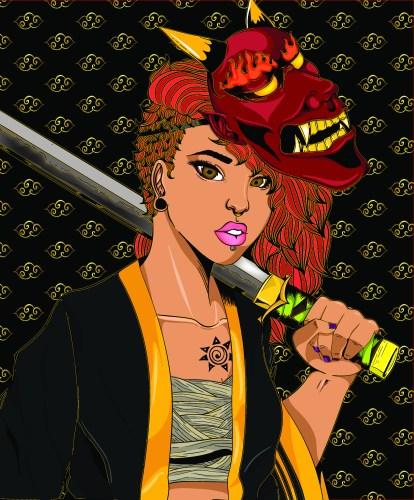 Xavionna Stover Girl with Sword Illustration