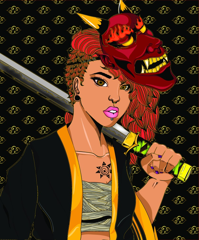 Xavionna Stover Girl with Sword Illustration