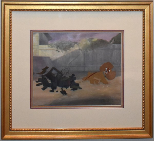 Original Framed Walt Disney Lady And Tramp Animation Production Cel Of