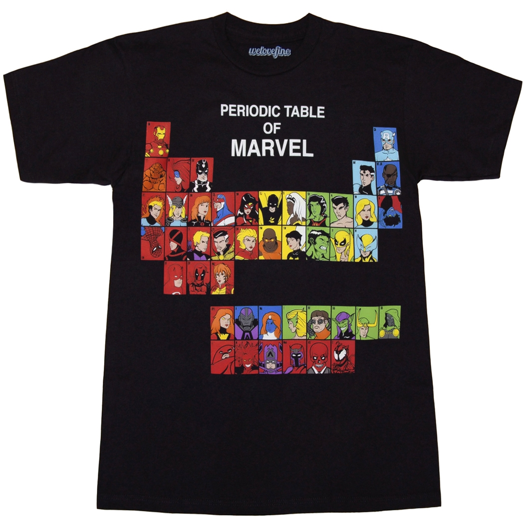 Marvel Comics Shirts Marvel Periodic Table T Shirt By