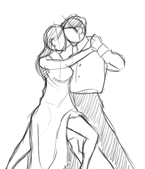 Couple Romantic Dancing Drawing Poses
