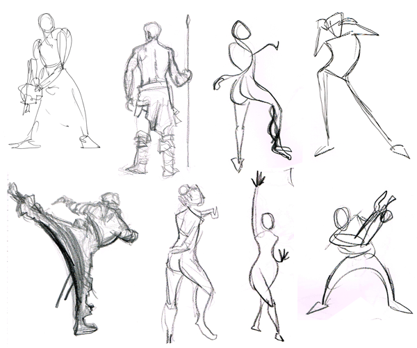 Examples of Gesture Drawings in both Pen and Pencil