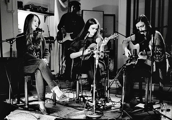 The Staves. Emily Staveley-Taylor - vocals, Camilla Staveley-Taylor - vocals and ukulele, Jessica Staveley-Taylor - vocals and guitar. Photograph by Dan Curwin © Atlantic Records UK.
