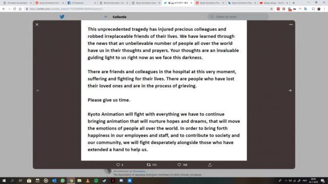 Statement van Kyoto Animation regisseur Hideaki Hatta