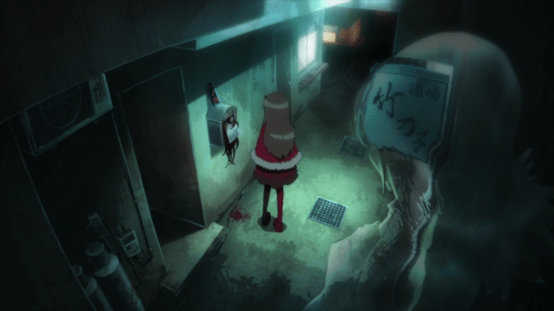 A girls stands in a grimly lit hallway