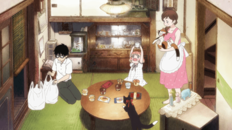 A cozy living room with Rei, Akari, Hina, and Momo gathered around a low table