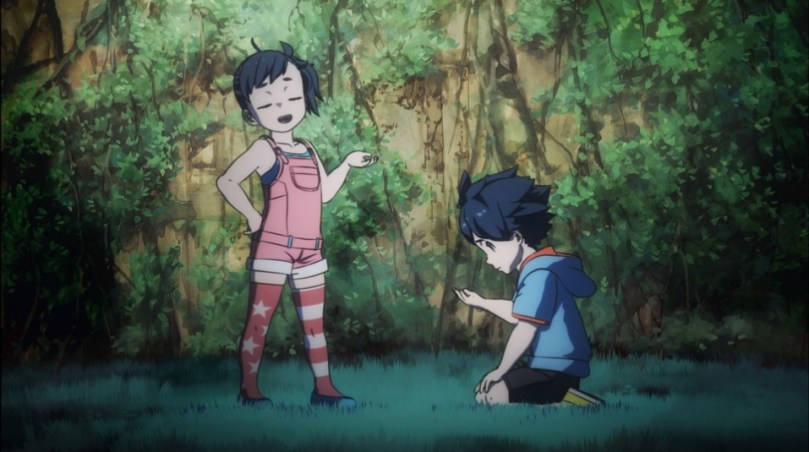 A young girl looks smug while a young boy crouches beside her, studying something on the ground