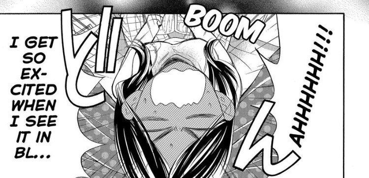 """Kae looks up, face flushed, and screams """"I get so excited when I see it in BL..."""""""