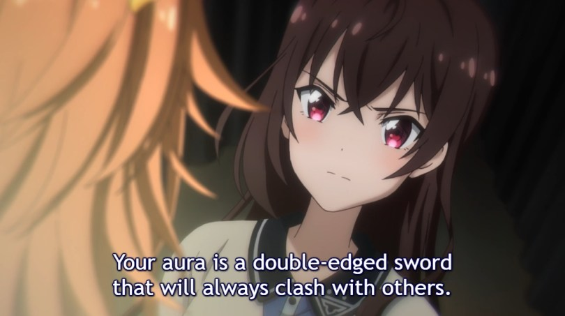 """Shizuka looks angrily at her former idol colleague speaking to her. Subtitle: """"Your aura is a double-edged sword that will always clash with others."""""""