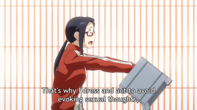 """Satou-sensei looks panicked and holds up a box out in front of her, keeping Takahashi-sensei at a distance. Subtitle: """"That's why I dress and act to avoid evoking sexual thoughts"""""""