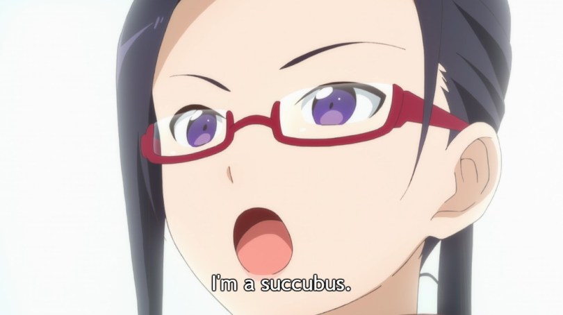 """Close-up of Satou-sensei's face, with black hair tied back and red glasses, as she speaks firmly. Subtitle: """"I'm a succubus."""""""