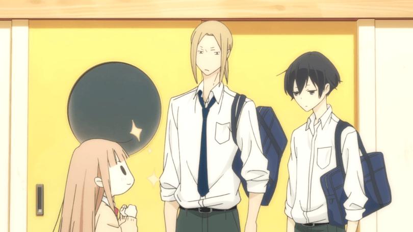 Miyano looks up hopefully at Tanaka and Ohta, sparkling slightly. Tanaka and Ohta seem uncertain.