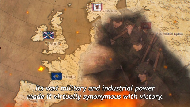 """A European map with fictional flags and names in a fictional alphabet, overlaid with images of fire and of soldiers fighting. Subtitle: """"Its vast military and industrial power made it virtually synonymous with victory."""""""