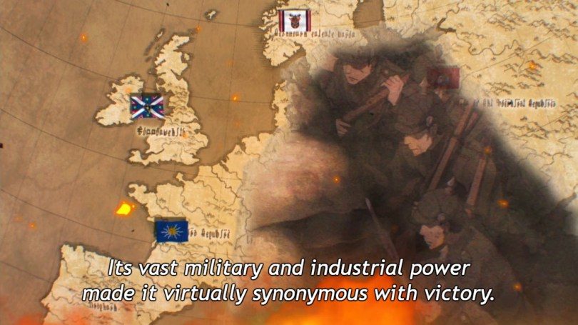 "A European map with fictional flags and names in a fictional alphabet, overlaid with images of fire and of soldiers fighting. Subtitle: ""Its vast military and industrial power made it virtually synonymous with victory."""