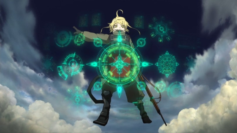 Tanya floats in the air with magic glyphs in front of her