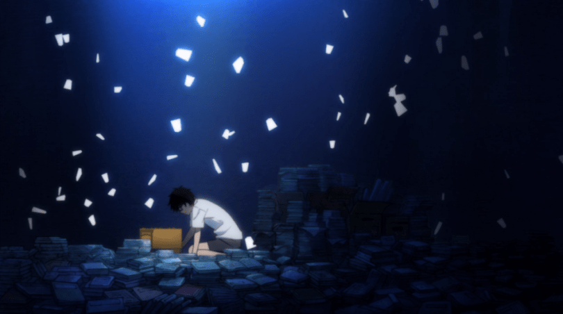 Rei, a boy in shorts and a white T-shirt, kneels on the floor surrounded by piles of books and with paper flying around him in the air on a dark blue background.