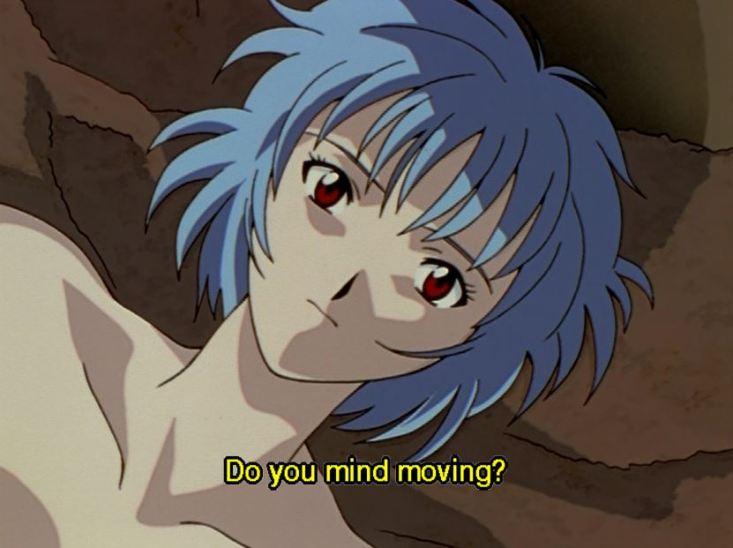 Rei, naked. Subtitle: Do you mind moving?