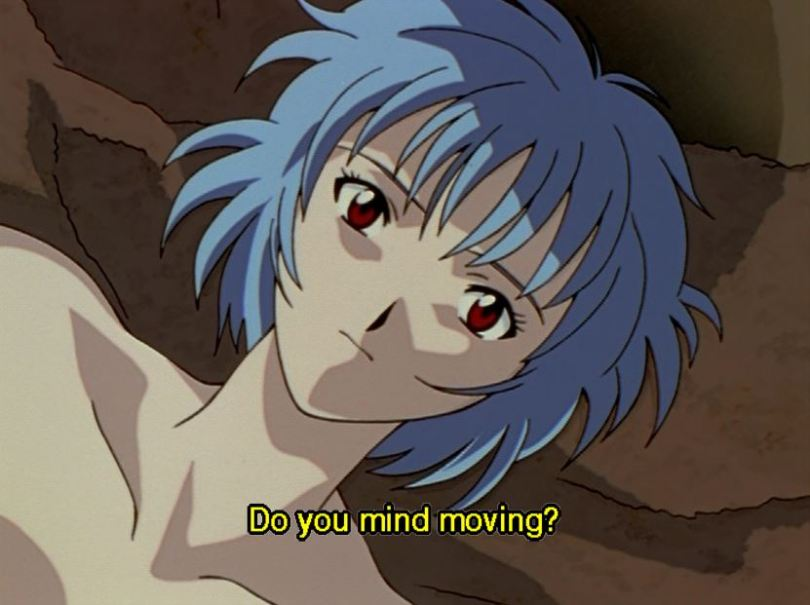 Rei, naked. Subtitle: Do you mind moving?