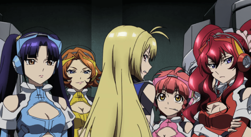 Ange glares as the other Norma fighters look on.