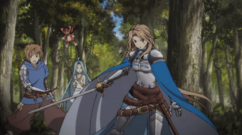 Katalina stands in front of Gran, Lyria, and Gran's small dragon mascot Vryn, sword out and cape swirled around as she protects them from attack.