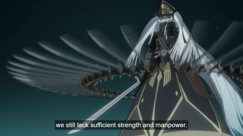 "The villain character in a long, military-style coat and hat, stands holding a sword in a circle of flying swords. Subtitle: ""We still lack sufficient strength and manpower."""