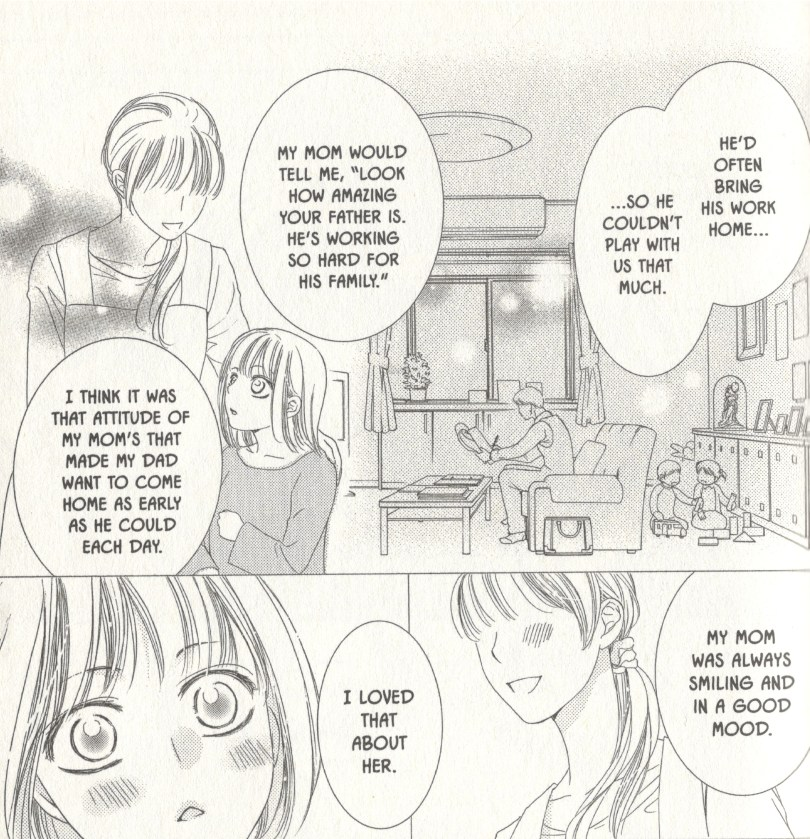 Manga page of a young girl speaking to her mother, whose face is obscured. A man looks at a paper on the couch behind them. Speech bubbles describe the father's hard work and the mother's loving attitude.