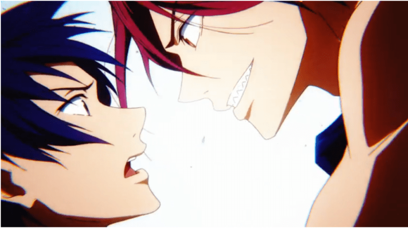 Close-up of a grinning red-haired positioned suggestively above a surprised blue-haired boy