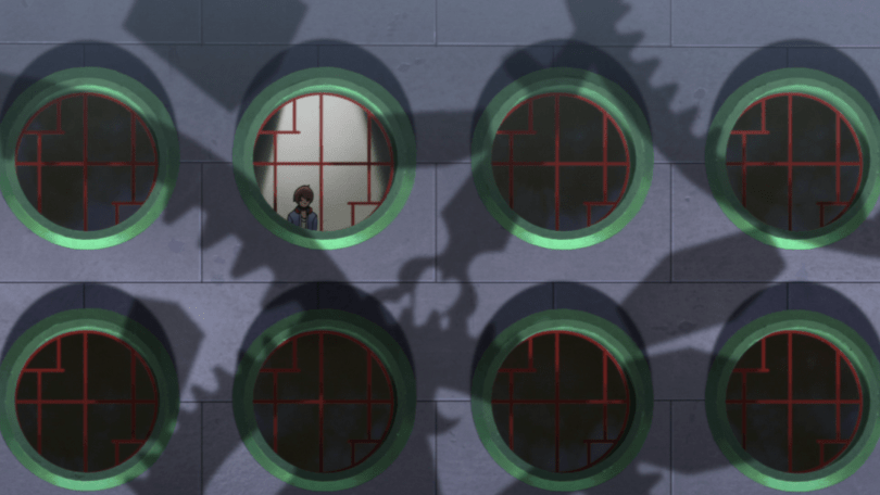 A boy stand at a circular window, surrounded by other windows, with the silhouettes of gears and machines casting shadows on the wall