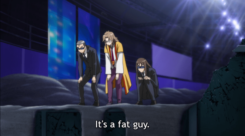 "Three men peer down over the edge of a building. Subtitle: ""It's a fat guy."""