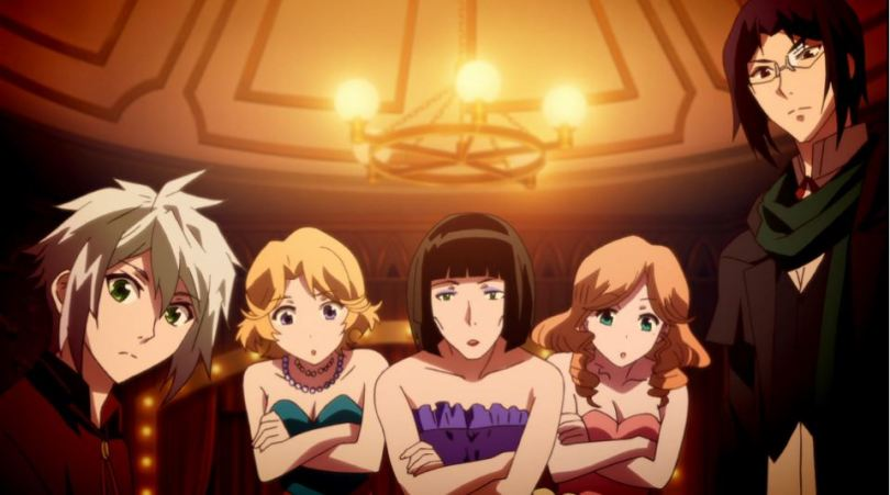 A white-haired young man, three women in nice dresses, and a dark-haired man with glasses look at something off-screen