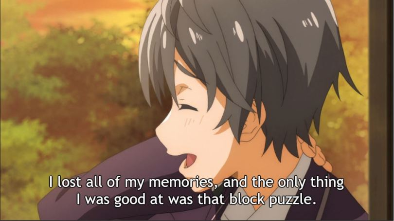 A smiling boy on a balcony. Dialogue: I lost all of my memories, and the only thing I was good at was that block puzzle