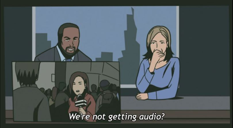 """A black man and a white woman at a news desk; in the bottom corner is another frame with a woman reporter holding a microphone. Text: """"We're not getting audio?"""""""