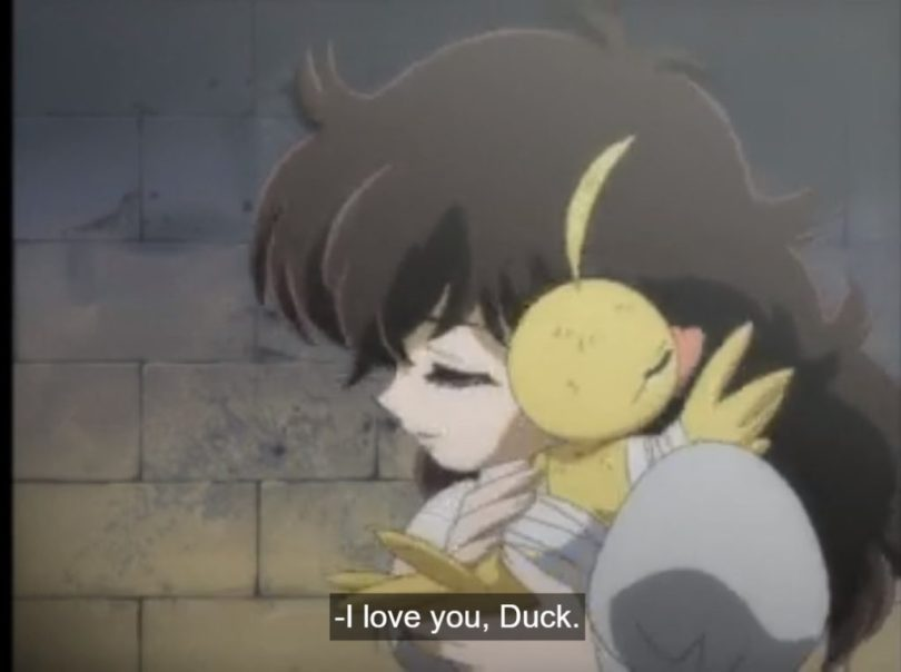 Rue hugs duckling Ahiru. Subtitle: I love you, Duck.